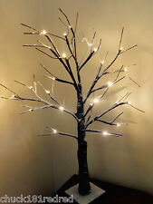 60cm Snow/snowy Effect Twig Tree/Pre-lit/ LED Warm White Christmas Lights/