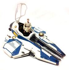 Figura de la guerra de las Galaxias Obi Wan Kenobi Jedi Fighter barco vehículo raro & Blanco Versión