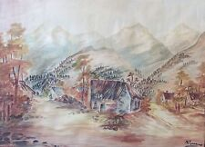 Salers Longevergne grande aquarelle de 1969 signée illisible ? cantal Auvergne