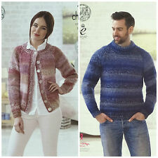 KNITTING PATTERN Ladies Easy Knit Cardigan &Mens Easy Knit Jumper Chunky KC 4632