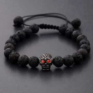 2Pcs/Set Luxury Men Women Cz Skull Ball Natural Lava Stone Beads Cool Bracelets