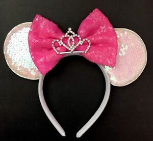 NEW Iridescent Minnie Mouse Ears Tiara Headband Cotton Candy Pink Sequin Bow