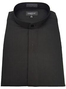 Men & Boy's mandarin collar(banded collar) Black dress Shirt, non pleat