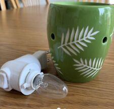 RETIRED Scentsy Green Grotto Palm Leaves Plug In Mini Wax Warmer Nightlight