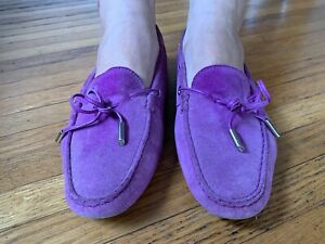 Tod's Gommino Women's Suede Blue Moccasins Loafers Flat Shoe Size 39.5 US 9-9.5
