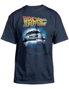 BACK TO THE FUTURE Blue Men's Black T-Shirt New Mens Tee DeLorean