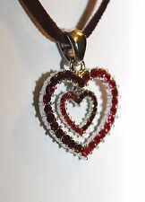 Half Red Half Crystal Heart-in-Heart Rhinestone Necklace On Suede Cord 1305