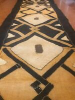 genuine 9 feet African (Congo) Kuba Raffia cloth fabric, natural woven handmade