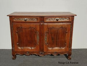 Antique French Country Rustic Solid Wood Sideboard Buffet w Metal Hardware