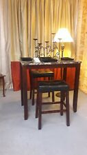 NEW!!! 3 pc Wooden Bistro Set w/Leather Covered Bar Stools. $75 Compare @ $199