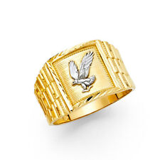 Men 14k Yellow White Real Gold Eagle Bird Lucky Fashion Wedding Bridal Ring Band