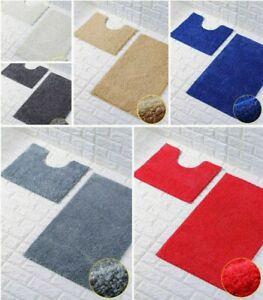 2pcs Luxury Shiny Sparkling Bath Mat Sets Non Slip Bathroom Rugs Water Absorbent