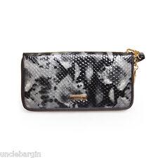 Serenade Ebony Snake Genuine Large Zip Around Leather Wallet (WH46-16)