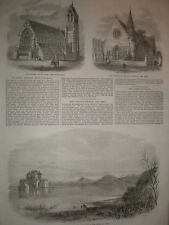 Holy Trinity Church Lee Kent & Lake Fusaro Italy 1864 old prints