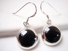 Black Onyx Circle Earrings 925 Sterling Silver Round Dangle Medium
