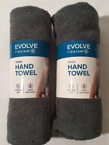"Set Of 2 Evolve By Gaiam Yoga Hand Towel 20""W x 30""L Grey, New"