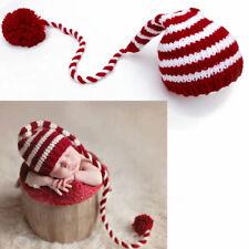 Newborn Baby Hat knitting Long Tails Christmas Photography Props Stripe Crochet