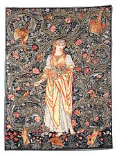 "WM MORRIS & EDWARD BURNE-JONES 25"" X 18"" ""FLORA"" BELGIAN TAPESTRY WALL HANGING"