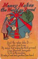 Bishop~Money Makes World Go Round~Dollar Coin Cranks Globe Pulley~Rockefeller
