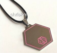 Silver EMT Star of Life Stainless Steel Pendant Necklace Pink Fire Rescue Gift
