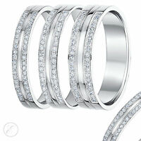 9ct White Gold Diamond Ring Double Row Diamond Wedding Ring Band