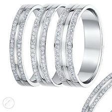 9ct White Gold Diamond Ring Double Row Diamond Wedding Ring Band