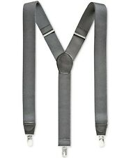 $95 New Club Room Men'S Gray Solid Elastic Stretch Metal Clip-On End Suspenders