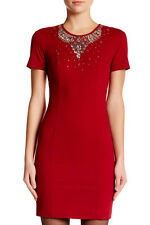 LOVE Moschino Embellished Shift Dress 42 / 6 Red Rhinestone Made In Italy