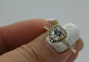 1 Ct Heart Shape Halo Engagement Wedding Promise Ring Solid 14K Yellow Gold