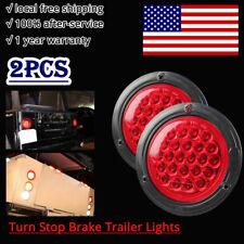 "2x 4"" Round RED LED Trailer Tail Lights 24LEDs Turn Stop Brake Trailer Light"