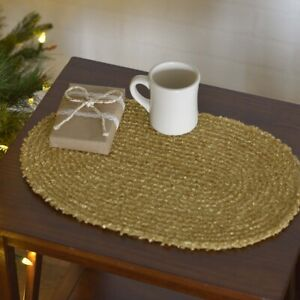 """VHC Brands Country 12""""x18"""" Placemat Set of 6 Yellow Christmas Gold Holiday Decor"""