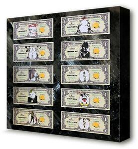 Banksy Bank Notes Cash Money 1 One American Dollar Dismaland Art Print Canvas