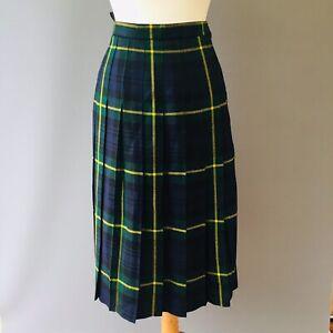 Mairi Macintyre Vtg Kilt tartan pure wool skirt 12 14 Scottish Green Blue A12
