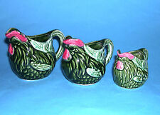 Japan Art Pottery - Set 3 Jugs In Increments (1CP-1/2CP-1/4CP) Chicken Design