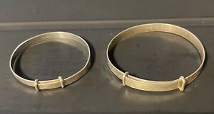 Two Vintage Sterling Silver Childs Bangles