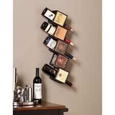 Vintage Label Wall Mounting Black Sturdy Metal Wine Rack 5 Bottle Holder Display