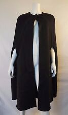 CAROLINA HERRERA Black Wool & Cashmere Double Face Cape Coat sz S NWT $1,525