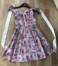 Hell Bunny Vixen size Xxs  baby pink Dress Rose Swallow Pattern New Never Worn