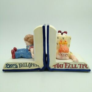 Mary Engelbreit Ceramic Bookends Books Fall Open You Fall In Boy Girl Book Ends