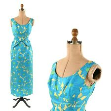 Vintage 60s Blue Floral All Silk Sleeveless Hourglass Cocktail Party Dress S
