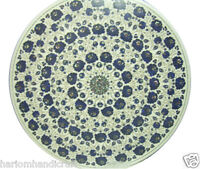 """24"""" White Marble Round Coffee Table Top Real Lapis Marquetry Garden Decor H2314"""