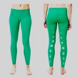 Teeki Womens Yoga Pants Green Moon Large Pilates USA Leggings Anti Microbial
