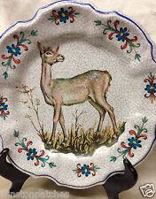 "LAMI ITALY VINT 10.75"" MELAMINE DINNER PLATE DEER DOE N CENTER CRACKLED PATTERN"