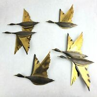 Vintage Brass Flying Duck/Geese Wall Decor Set MCM Lot of 4
