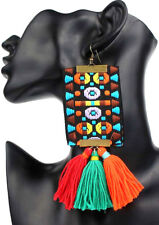 LARGE VERY LONG Earrings Woven Tassel Square Multicolour Drop Dangle Big Africa