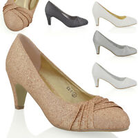Womens Low Heel Satin Glitter Ladies Bridal Evening Party Slip On Court Shoes