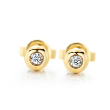 Full Cut Natural Diamond Solid 18K Yellow Gold Wedding Anniversary Earrings Gift