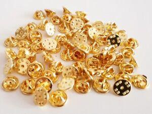 Pin-Verschlüsse goldfarben Anstecker badge clips Verschluss butterfly clip