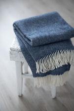 Throw Blanket Blue 100% Wool , Thick Wool Throw, Sofa throws, Blue plaid