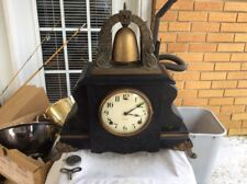 ANTIQUE GILBERT CURFEW MANTEL CLOCK MADE IN USA, 8 DAY, TIME + TOP BELL STRIKE